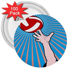 Volly Ball Sport Game Player 3  Buttons (100 Pack)  by Mariart