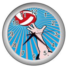 Volly Ball Sport Game Player Wall Clocks (silver)  by Mariart