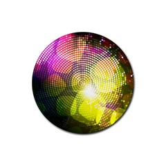 Plaid Star Light Color Rainbow Yellow Purple Pink Gold Blue Rubber Coaster (round)  by Mariart