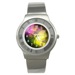 Plaid Star Light Color Rainbow Yellow Purple Pink Gold Blue Stainless Steel Watch by Mariart