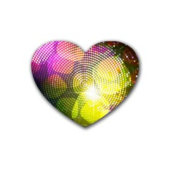 Plaid Star Light Color Rainbow Yellow Purple Pink Gold Blue Rubber Coaster (heart)  by Mariart