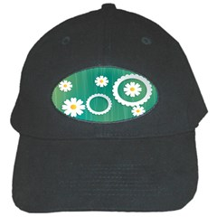 Sunflower Sakura Flower Floral Circle Green Black Cap by Mariart