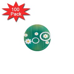 Sunflower Sakura Flower Floral Circle Green 1  Mini Magnets (100 Pack)  by Mariart