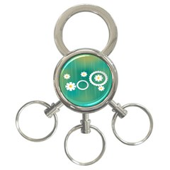 Sunflower Sakura Flower Floral Circle Green 3 Ring Key Chains by Mariart