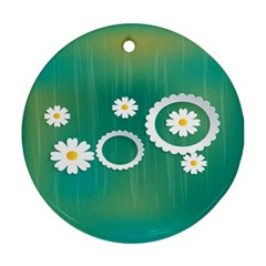 Sunflower Sakura Flower Floral Circle Green Round Ornament (two Sides) by Mariart
