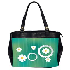 Sunflower Sakura Flower Floral Circle Green Office Handbags (2 Sides)  by Mariart