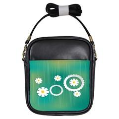 Sunflower Sakura Flower Floral Circle Green Girls Sling Bags by Mariart