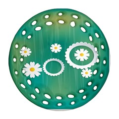 Sunflower Sakura Flower Floral Circle Green Round Filigree Ornament (two Sides) by Mariart