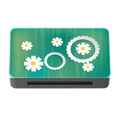 Sunflower Sakura Flower Floral Circle Green Memory Card Reader With Cf by Mariart