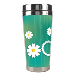 Sunflower Sakura Flower Floral Circle Green Stainless Steel Travel Tumblers by Mariart