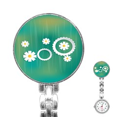 Sunflower Sakura Flower Floral Circle Green Stainless Steel Nurses Watch by Mariart