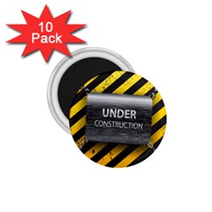 Under Construction Sign Iron Line Black Yellow Cross 1 75  Magnets (10 Pack)  by Mariart