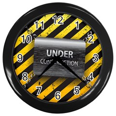 Under Construction Sign Iron Line Black Yellow Cross Wall Clocks (black) by Mariart
