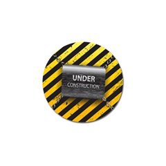 Under Construction Sign Iron Line Black Yellow Cross Golf Ball Marker by Mariart