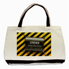 Under Construction Sign Iron Line Black Yellow Cross Basic Tote Bag by Mariart
