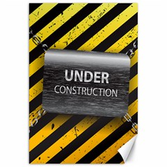 Under Construction Sign Iron Line Black Yellow Cross Canvas 20  X 30   by Mariart