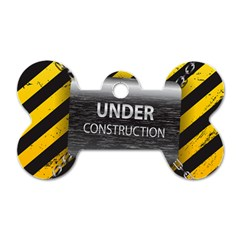 Under Construction Sign Iron Line Black Yellow Cross Dog Tag Bone (two Sides) by Mariart