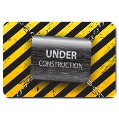 Under Construction Sign Iron Line Black Yellow Cross Large Doormat  by Mariart