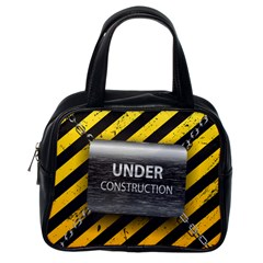 Under Construction Sign Iron Line Black Yellow Cross Classic Handbags (one Side) by Mariart