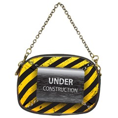 Under Construction Sign Iron Line Black Yellow Cross Chain Purses (two Sides)  by Mariart