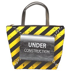 Under Construction Sign Iron Line Black Yellow Cross Bucket Bags by Mariart
