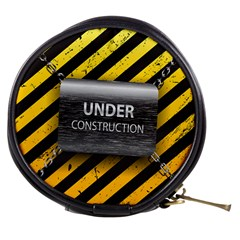 Under Construction Sign Iron Line Black Yellow Cross Mini Makeup Bags by Mariart