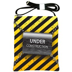 Under Construction Sign Iron Line Black Yellow Cross Shoulder Sling Bags by Mariart