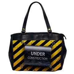 Under Construction Sign Iron Line Black Yellow Cross Office Handbags by Mariart