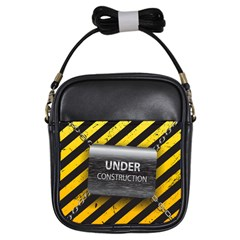 Under Construction Sign Iron Line Black Yellow Cross Girls Sling Bags by Mariart