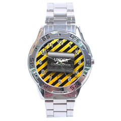Under Construction Sign Iron Line Black Yellow Cross Stainless Steel Analogue Watch by Mariart