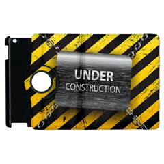 Under Construction Sign Iron Line Black Yellow Cross Apple Ipad 2 Flip 360 Case by Mariart