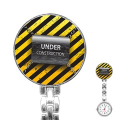 Under Construction Sign Iron Line Black Yellow Cross Stainless Steel Nurses Watch by Mariart