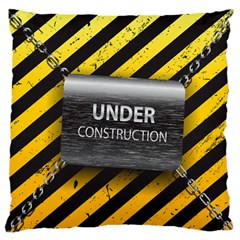 Under Construction Sign Iron Line Black Yellow Cross Large Flano Cushion Case (two Sides) by Mariart