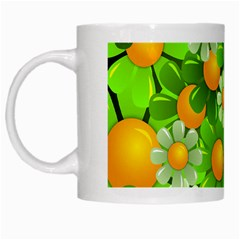 Sunflower Flower Floral Green Yellow White Mugs by Mariart