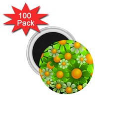 Sunflower Flower Floral Green Yellow 1 75  Magnets (100 Pack)  by Mariart