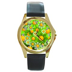 Sunflower Flower Floral Green Yellow Round Gold Metal Watch by Mariart