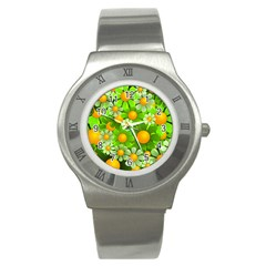 Sunflower Flower Floral Green Yellow Stainless Steel Watch by Mariart