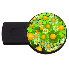 Sunflower Flower Floral Green Yellow Usb Flash Drive Round (4 Gb) by Mariart