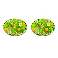 Sunflower Flower Floral Green Yellow Cufflinks (oval) by Mariart