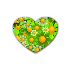 Sunflower Flower Floral Green Yellow Heart Coaster (4 Pack)  by Mariart