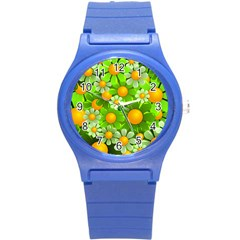 Sunflower Flower Floral Green Yellow Round Plastic Sport Watch (s) by Mariart