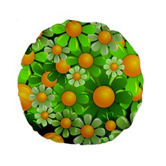 Sunflower Flower Floral Green Yellow Standard 15  Premium Round Cushions by Mariart