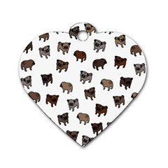 Pug Dog Pattern Dog Tag Heart (two Sides) by Valentinaart