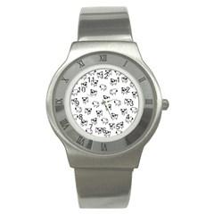 Pug Dog Pattern Stainless Steel Watch by Valentinaart