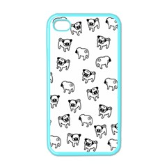Pug Dog Pattern Apple Iphone 4 Case (color) by Valentinaart