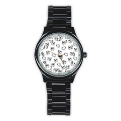 Pug Dog Pattern Stainless Steel Round Watch by Valentinaart