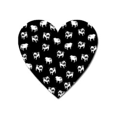 Pug Dog Pattern Heart Magnet by Valentinaart