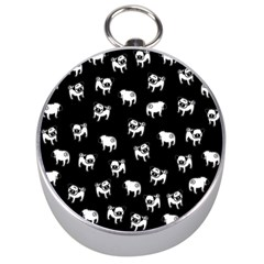 Pug Dog Pattern Silver Compasses by Valentinaart