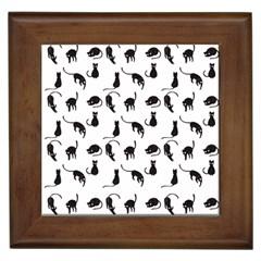 Black Cats Pattern Framed Tiles by Valentinaart