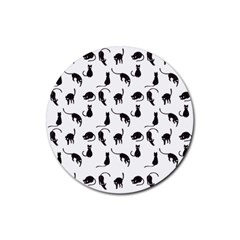 Black Cats Pattern Rubber Coaster (round)  by Valentinaart